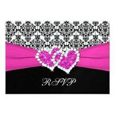 fuchsia, black, and white invitations  | ... Invitations | Black, White, Pink Damask & Hearts Reply Card Invitation