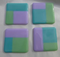 Fused Glass Pastel Green, Lilac and Baby Blue Coasters - set of 4 MTO