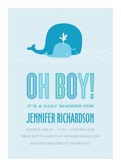 Whale Oh Boy baby shower invitations