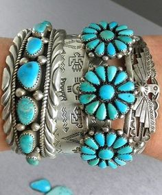 63g-Pretty-Old-Pawn-034-Navajo-GUILD-Marked-034-Turquoise-Sterling-Row-Cuff-Bracelet