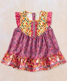 Another great find on #zulily! Pink & Yellow Odette Flutter-Sleeve Top - Infant #zulilyfinds