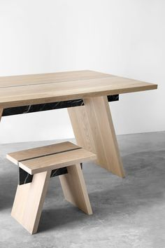 Oak and Marble Stool or Side Table, Laws of Motion by Joel Escalona Design Ppt, Best Office, Mexican Designs, Cabinet Makers, Office Interior Design, Furniture Design, Dining Table, Chair, Home Decor