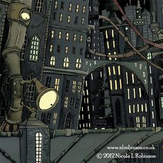 Nicola L Robinson - Illustrator - www.nlrobinson.co.uk : Downtown