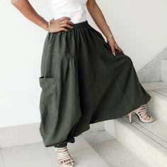 Harem Organic Cotton 100%,Drop Crotch Triangle,Yoga, Ninja Pants In Green, . on Etsy, $32.86 CAD