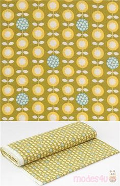"""olive green cotton sheeting fabric with lovely floral design of circle-shaped white, blue and yellow flowers in rows, Material: 100% cotton, Pattern Repeat: ca. 10cm (3.9"""") #Cotton #Flower #Leaf #Plants #JapaneseFabrics"""