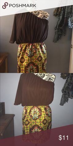 Gently worn cocktail dress 👗 SIZE LARGE  JUDITH MARCH FLORAL BROWN ONE SHOULDER COCKTAIL DRESS Judith March Dresses One Shoulder