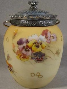Mt Washington Crown Milano Biscuit Jar with Pansies Bottles And Jars, Glass Jars, Antique Cookie Jars, Tea Biscuits, Pickle Jars, Vintage Cookies, Glass Paperweights, Chocolate Pots, Ginger Jars