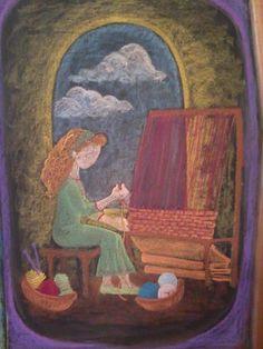 Waldorf ~ 3rd grade ~ Fibers & Clothing ~ Weaving ~ chalkboard drawing