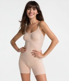 92626c54c41 SPANX OnCore Sculptsuit Mid-Thigh Shapesuit SS1715 Soft Nude Large Full  Body