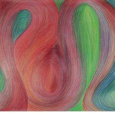"Saatchi Art Artist Cintia Garcia; Drawing, ""Tres Curvas Rojas"" #art"