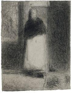 georges seurat   la concierge (la maquerelle - la bonne)   conté crayon on laid paper   32.3 by 24.5cm., 12 5/8 by 9 ¾ in.   executed circa 1884   provenance paul signac link sothebys