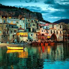 Cefalu at dusk. Harbor view of old houses in Cefalu at dusk, Sicily , 3 Days In Amsterdam, Amsterdam Travel, Italy Vacation, Italy Travel, Italy Trip, Vacation Places, Cool Places To Visit, Great Places, Beautiful Places