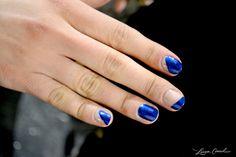 modern, side-swooped manicure {Essie Aruba Blue}