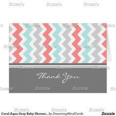 Coral Aqua Gray Baby Shower Hostess Thank You Card
