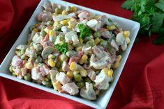 Sałatka z wędzonym kurczakiem i pieczarkami – Smaki na talerzu Pasta Salad, Sprouts, Vegetables, Ethnic Recipes, Food, Crab Pasta Salad, Hoods, Vegetable Recipes, Meals