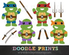 TMNT Ninja Turtles - Digital Clip Art Printable Images - Teenage Mutant Ninja Turtles Clipart Design - Ninja Weapons - Personal Use Only