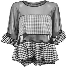The Ragged Priest Courtney Gingham Top ($46) ❤ liked on Polyvore featuring tops, short sleeve tops, sleeve top, gingham top and oversized tops