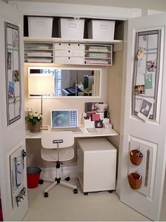 Closet workspace - desk - like the mirror and how cozy the actual deskspace feels with plant and light...