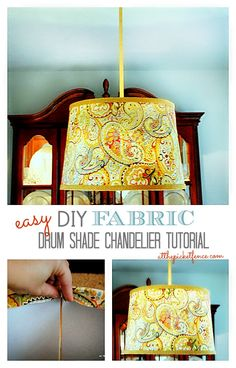 LOVE this DIY Fabric Drum Shade Chandelier Tutorial by @At The Picket Fence