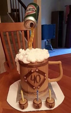 Beck& Beer Cake - This is a large mug with the can of Beck& beer on top. This cake was created by Marina Mitsevich. My favorite part of this cake is 40th Cake, Dad Cake, Fondant Cakes, Cupcake Cakes, Cupcakes, Beer Mug Cake, Beer Cakes, Gravity Defying Cake, Novelty Cakes