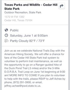 National Trails Day is on June 1st at Cedar Hill State Park in Cedar Hill, Texas.