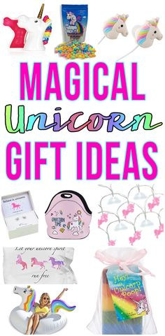 Top Unicorn Gifts! Magical Unicorn ideas for those that love Unicorns! Great ideas for kids, for adults, for girls, for teens, friends and more. Awesome unicorn products to wrap up and give as a present for birthdays, Christmas or just because! Amazing ideas to create a cute gift basket or just give a unique gift. Fun and awesome stuff unicorn gift guide!
