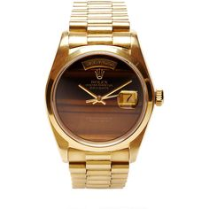 CMT Fine Watch and Jewelry Advisors Vintage 18K Gold Rolex Day-Date... ($28,500) ❤ liked on Polyvore featuring jewelry, watches, accessories, gold, 18k gold bracelet, rolex watches, vintage wristwatches, 18k bracelet and vintage gold watches
