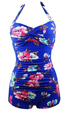 Vintage Fashion and Lifestyle Cocoship Elegant Floral Retro Inspired Boy-Leg One Piece Ruched Maillot Swimsuit(FBA) Retro One Piece Swimsuits, Retro Swimwear, Vintage Swimsuits, Cute Swimsuits, Halter Swimsuits, Women Swimsuits, Vintage Bathing Suits, Vintage Bikini, Floral Retro