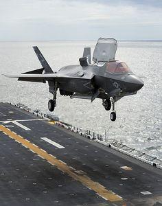 F-35B Vertical Landing at Sea