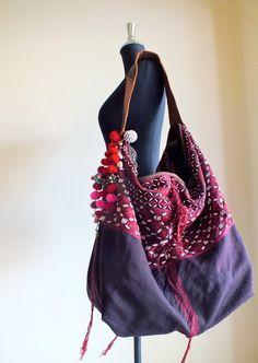 Hmong Ethnic handmade bag vintage fabric bohemian bags tote Handbags with leather
