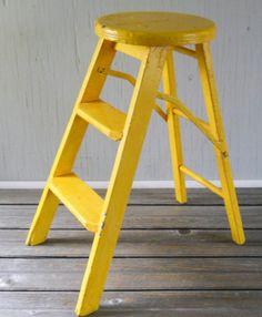 Vintage Folding Step Ladder Stool Yellow by lisabretrostyle2, $40.00