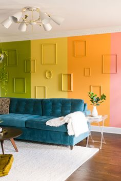 Feb 2020 - Today, we're beyond thrilled to share Natalie Ensor's Nashville home with you. The hardest part about putting this post. Formal Living Rooms, Living Room Decor, Pink Velvet Couch, Interior Exterior, Interior Design, Tulip Dining Table, Rainbow Room, Rainbow Wall, Room Paint Colors