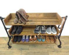 Chaussure de bois récupéré la main Stand / Rack / organisateur