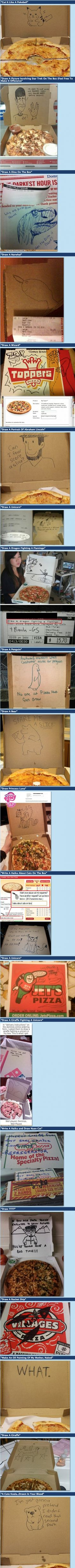 20 Funny special requests, pizza boxes...I want to order a pizza just to request a drawing!!