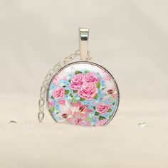 Shabby Chic Pendant Jewelry, Pink Roses Vintage Pattern Necklace with free chain CS44 by prideandpendants on Etsy