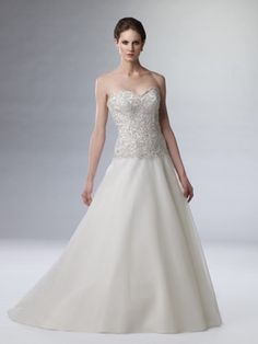 A-line Sweetheart  Applique  Sleeveless Sweep / Brush Train Organza Wedding Dresses For Brides