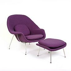 Saarinen Style: Womb Chair Chair with Ottoman - Plum Purple Fabric Mcm Furniture, Selling Furniture, High Quality Furniture, Furniture Design, Living Room Modern, Living Rooms, Womb Chair, Davos, Purple Fabric