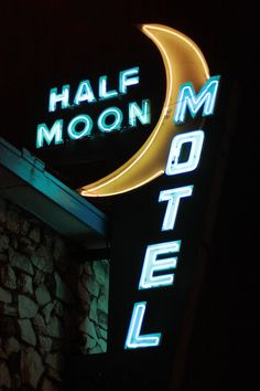 Neon Sign - Half Moon Motel, Culver City, LA- California