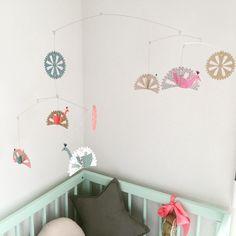 Dusty Aqua moKee Mini Cot #nursery #mobile