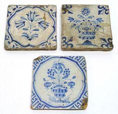 Group of 3 17th Century Delft Dutch Tiles with Floral Motifs Primitive   eBay