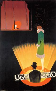 1926 Underground Theatres by Verney L Danvers. An unusual design, presuming it refers to underground trains the 'Theatre' district. #London #Underground #Posters #Advertising #Retro #Vintage