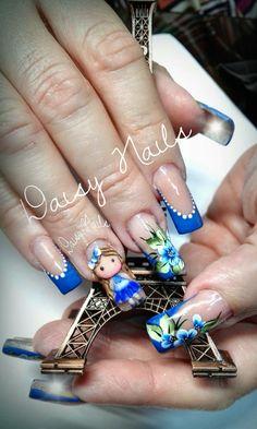 Butterfly Nail Art, Flower Nail Art, Wow Nails, Pretty Nail Art, Clear Nails, Wedding Nails, Spring Flowers, Hair And Nails, Nail Art Designs