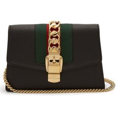 Gucci Sylvie super mini leather shoulder bag ($1,150) ❤ liked on Polyvore featuring bags, handbags, shoulder bags, black, shoulder handbags, gucci handbags, mini handbags, mini leather handbags and leather purse