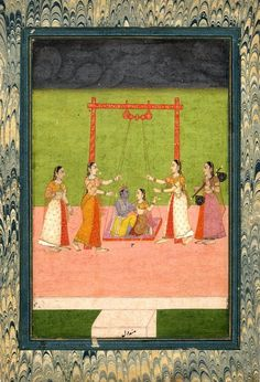 An illustration from a set of Ragamala paintings. Kṛṣṇa and Rādhā sitting on a…