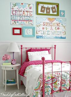 big girl bedroom... this is exactly what I want in the girls. White and every color under the sun.