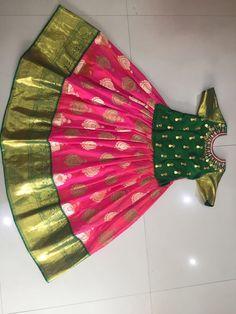 S Pattu langa Kids Party Wear Dresses, Kids Dress Wear, Baby Girl Party Dresses, Kids Gown, Dresses Kids Girl, Indian Dresses For Kids, Kids Indian Wear, Kids Ethnic Wear, Baby Girl Dress Patterns