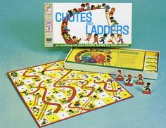 Chutes and Ladders game...I believe this is the 1974 edition. You did not want to land on space #87!