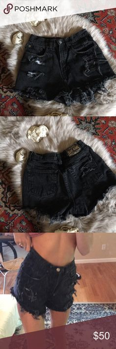 Vintage high waisted black shorts Vintage. Lots of frill and cuts. Wider on the thigh. Says size 8 old navy blue jeans Shorts Jean Shorts