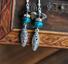 Classical Aesthetic Quality Malachite and Tibetan Silver Owl Earrings  | shangrilacraft - Jewelry on ArtFire