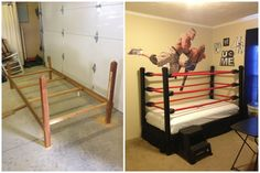 WWE Wrestling Bed kids room DIY *step by step instructions at link provided*  Or go to my other pin on this board and click on pic to go straight there :)        http://snapguide.com/guides/make-a-diy-wwe-wrestling-bed-under-100-1
